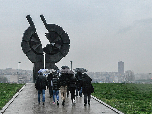 Monument to the victims of genocide on the banks of the Sava, belgrade