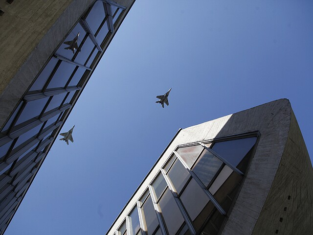 Fighter Jets above the Museum of the Slovak National Uprising in a military airshow at the 70th anniversary of the uprising 2014